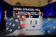 David Love III (USA) and Pga of America Ryder Cup committee during the 2016 Ryder Cup captain announcement press conference from PGA National, Palm Beach Gardens, Florida.<br /> Picture: Fran Caffrey / Golffile