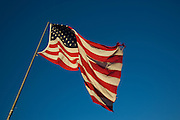 American flag blowing in the wind near Charleston.