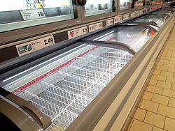 Panic buying causing shortages in supermarkets at the beginning of the Coronavirus pandemic in London, UK 2020