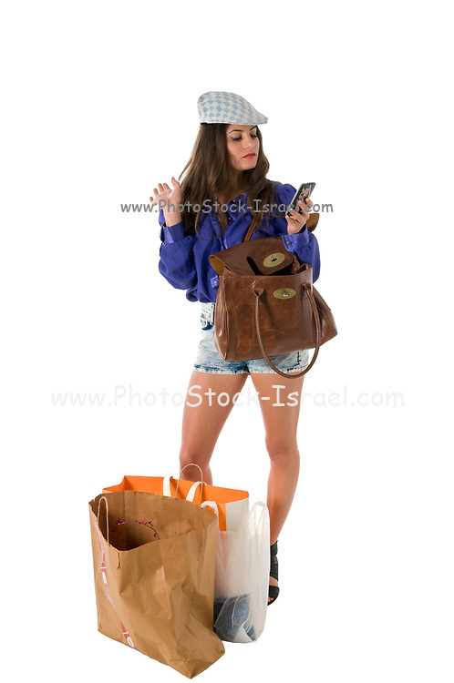 Fashionable Woman in blue blouse out shopping