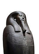 Ancient Egyptian greywacke sarcophagus of Vizier Gemenefherbak - late Period, 26th Dynasty (664-525BC). Egyptian Museum, Turin. white background<br /> <br /> Gemenefherbak was a vizier, minister, as indicated by a pendant picturing the goddess Maat hanging around his neck in the shadow of his beard. Despite the hardness of the greywacke stone the sarcophagus is made from, its makers have shown incredible skill creating a sarcophagus with intricate detail and a highly polished finish. .<br /> <br /> If you prefer to buy from our ALAMY PHOTO LIBRARY  Collection visit : https://www.alamy.com/portfolio/paul-williams-funkystock/ancient-egyptian-art-artefacts.html  . Type -   Turin   - into the LOWER SEARCH WITHIN GALLERY box. Refine search by adding background colour, subject etc<br /> <br /> Visit our ANCIENT WORLD PHOTO COLLECTIONS for more photos to download or buy as wall art prints https://funkystock.photoshelter.com/gallery-collection/Ancient-World-Art-Antiquities-Historic-Sites-Pictures-Images-of/C00006u26yqSkDOM