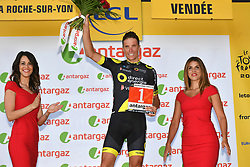 July 8, 2018 - La Roche-Sur-Yon, FRANCE - French Sylvain Chavanel of Direct energie receives the combativity award for the most aggressive rider, after the second stage of the 105th edition of the Tour de France cycling race, 182,5km from Mouilleron-Saint-Germain to La Roche-sur-Yon, France, Sunday 08 July 2018. This year's Tour de France takes place from July 7th to July 29th. BELGA PHOTO DAVID STOCKMAN (Credit Image: © David Stockman/Belga via ZUMA Press)