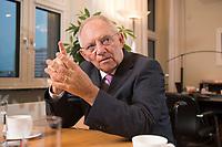 17 DEC 2014, BERLIN/GERMANY:<br /> Wolfgang Schaeuble, CDU, Bundesfinanzminister, waehrend einem Interview, in seinem Buero, Bundesministerium der Finanzen<br /> IMAGE: 20141217-01-012<br /> KEYWORDS: Wolfgang Schäuble