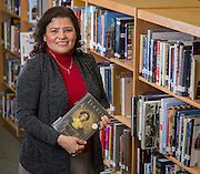 Martha Moreira poses for a photograph at Bellaire High School, November 25, 2013. Moreira was named the December 2013 Houston ISD Employee of the Month.