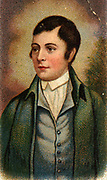 Rober Burns (1759-1796) Scottish poet and lyricist and unofficial national poet of Scotland. Chromolithograph.