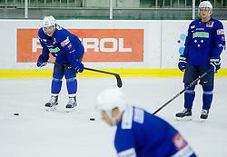 Anze Kopitar and Jan Mursak during practice session of Slovenian National Ice Hockey Team prior to the IIHF World Championship in Ostrava (CZE), on April 21, 2015 in Hala Tivoli, Ljubljana, Slovenia. Photo by Vid Ponikvar / Sportida