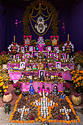 A altar or ofrendas set up to celebrate the Day of the Dead festival known in Spanish as Día de Muertos November 2, 2013 in Oaxaca, Mexico.