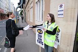 Union member demonstrating during strike action in Nottingham City Centre,