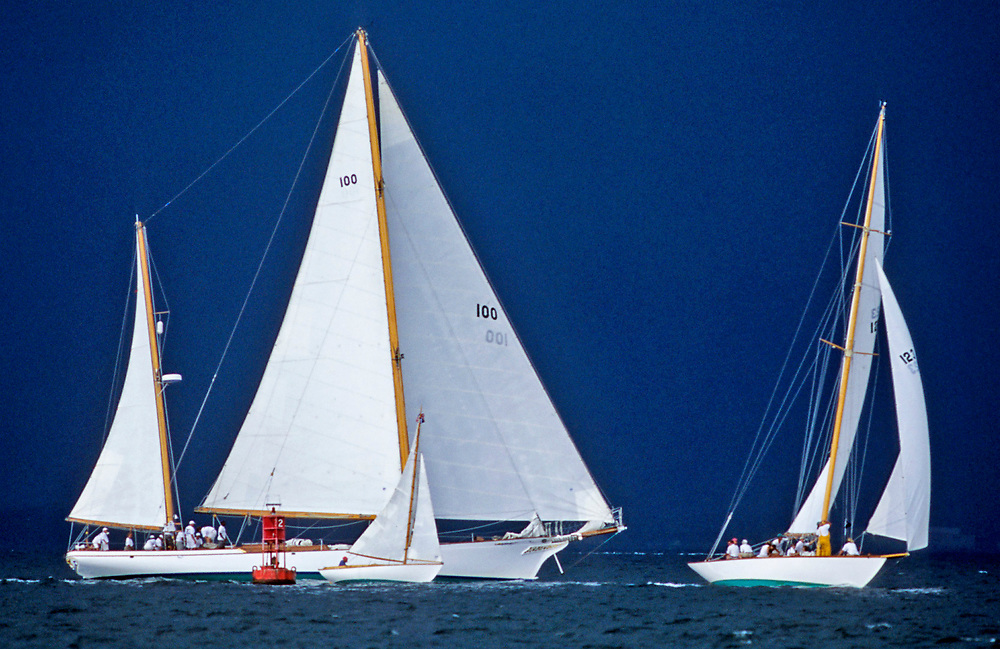 TICONDEROGA  and 2 other yachts<br /> rounding Northern mark of Narragansett Bay<br /> Classic Yacht Regatta 2000