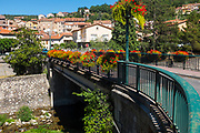 Pont Rudyard Kipling, Rudyard Kipling Bridge, Vernet les Bains, Pyrenees Orientales, France. Bridge named after the English writer, who visited Vernet many times.