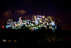 Edinburgh Castle forms the backdrop for the Deep Time event. This epic, outdoor, public artwork event forms the dazzling opening to 2016's festival season, created by Tony award-winning 59 Productions, creators of the acclaimed The Harmonium Project that launched the International Festival 2015. Edinburgh Castle, Sunday 7th August 2016, (c) Brian Anderson | Edinburgh Elite media