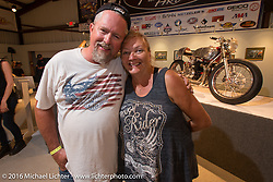 Melissa Shoemaker on the Industry party night for Michael Lichter's tattoo themed Skin & Bones Motorcycles as Art exhibition at the Buffalo Chip during the annual Sturgis Black Hills Motorcycle Rally.  SD, USA.  August 7, 2016.  Photography ©2016 Michael Lichter.