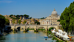 St. Peter's Basilica seen from Ponte Sant'Angelo, Rome, Italy
