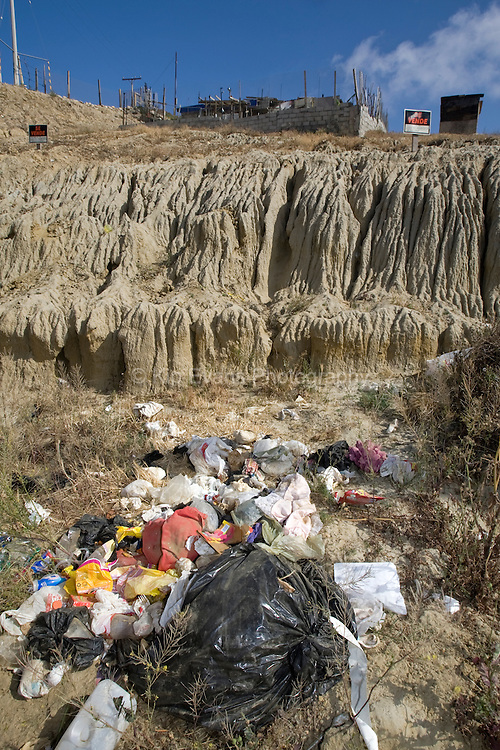 Illegal Dumping of trash in Los Laureles Canyon - Tijuana Mexico.