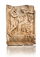 Photo of Roman releif sculpture of Aphrodite & Anchises from the Oda first room, Aphrodisias, Turkey, Images of Roman art bas releifs. Buy as stock or photo art prints. The trojan shepherd Anchises gazes at a seated Aphrodite, his lover for one night on Mount Ida. She hold a smalkl Eros in her lap : this is an erotic encounter. The head of Seine [ moon ] appears above the mountain in the top left of the scene. Aineas was the result of this union.