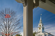 First Congregational Church and American flag, afternoon light, October, Hillsborough County, Hancock, New Hampshire, USA
