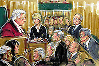 (COPYRIGHT)PRISCILLA COLEMAN-ITN NEWS.PIC SHOWS: ADRINA COLOQUHOUN BEING CROSS EXAMING BY ROY AMLOT Q.C (BARRISTER FOR TED FRANCIS AT THE OLD BAILEY TODAY 19/6/01. WHERE SHE GAVE EVIDENCE IN THE TRIAL OF LORD JEFFREY ARCHER AND TED FRANCIS-SEE STORY.ILLUSTRATION: PRISCILLA COLEMAN