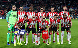 PSV Eindhoven's Jeroen Zoet (back left to right), Gaston Pereiro, Denzel Dumfries, Nick Viergever, Daniel Schwaab, Luuk de Jong, Hirving Lozano (front left to right),  Angelino, Jorrit Hendrix, Donyell Malen and Pablo Rosario (right) pose for a photograph before kick-off