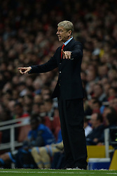 LONDON, ENGLAND - Oct 01: Arsenal's manager Arsene Wenger issues instructions to his team during the UEFA Champions League match between Arsenal from England and Napoli from Italy played at The Emirates Stadium, on October 01, 2013 in London, England. (Photo by Mitchell Gunn/ESPA)