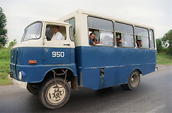 Bus travelling on the motorway in Cuba,