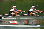 Lucerne, SWITZERLAND,  NZL W2X bow Georgina EVERS-SWINDELL and Caroline EVERS-SWINDELL, competing at the 2007 FISA World Cup, Lucerne, on the Rotsee Lake, 13/07/2007  [Mandatory Credit Peter Spurrier/ Intersport Images] , Rowing Course, Lake Rottsee, Lucerne, SWITZERLAND.