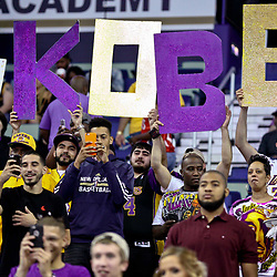 Apr 8, 2016; New Orleans, LA, USA; Fans hold up a sign for Los Angeles Lakers forward Kobe Bryant before the start of a game against the New Orleans Pelicans at the Smoothie King Center. Mandatory Credit: Derick E. Hingle-USA TODAY Sports