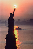 Statue of Liberty Sunrise, Aerial, New York City, NY, East River