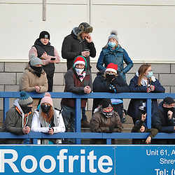 TELFORD COPYRIGHT MIKE SHERIDAN AFC Telford fans during the Conference North fixture between AFC Telford United and Chester FC at New Bucks Head on Saturday, December 26, 2020.<br /> <br /> The fixture was the first occasion since March where fans had been allowed to attend at the New Bucks Head Stadium.<br /> <br /> Picture credit: Mike Sheridan/Ultrapress<br /> <br /> MS2021-051