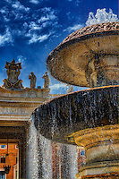 """""""Bernini fountain in Piazza San Pietro""""…<br /> <br /> This image was created at the Vatican in the Piazza of Saint Peter of the famous Bernini fountain located in the southern area of the square.  There are two fountains in St. Peter's Square:  the first was created by Carlo Maderno; the other by Gian Lorenzo Bernini, the Italian sculptor and architect, and a major historical figure in the world of architecture. He was the leading sculptor of his age, credited with creating the Baroque style of sculpture, and he was also the designer of the entire square of Saint Peters.  Pope Alexander VII trusted Bernini to develop a structure that would adequately frame a barrier of space for visitors to collect, but also a place for them to bask in the honor and distinction of Rome as a Catholic state. Bernini placed ninety-six saintly statues over the colonnade's balustrade, which tower majestically over the square, and are viewable in the background of the fountain."""