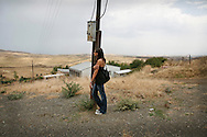 Liya Sarkisyan-looking at the landscape of Nagorno-Karabakh..She presently lives in US -Los Angeles ...Her family left 18-years ago from Armenia  to US when she was three years old. It is her first visit to Armenia since that..