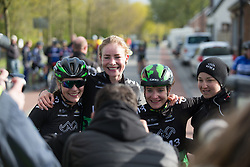 Riejanne Markus (NED) of WM3 Pro Cycling Team celebrates with her teammates after winning the Omloop van Borsele - a 107.1 km road race, starting and finishing in s'-Heerenhoek on April 22, 2017, in Borsele, the Netherlands.