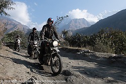 Round the World Doug Wothke with the Annapurna Range in the background on Day-7 of our Himalayan Heroes adventure riding from Tatopani to Pokhara, Nepal. Monday, November 12, 2018. Photography ©2018 Michael Lichter.
