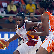 Galatasaray's Tina CHARLES (L) during their Euroleague woman Group A basketball match Galatasaray between UMMC Ekaterinburg at the Abdi Ipekci in Istanbul at Turkey on wednesday,October, 26, 2010. Photo by TURKPIX