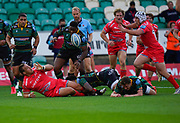 Sale Sharks prop Coenie Oosthuizen offloads to hooker Curtis Langdon during the Gallagher Premiership Rugby match Northampton Saints -V- Sale Sharks at Franklin's Gardens, Northamptonshire ,England United Kingdom, Tuesday, September 29, 2020. (Steve Flynn/Image of Sport)