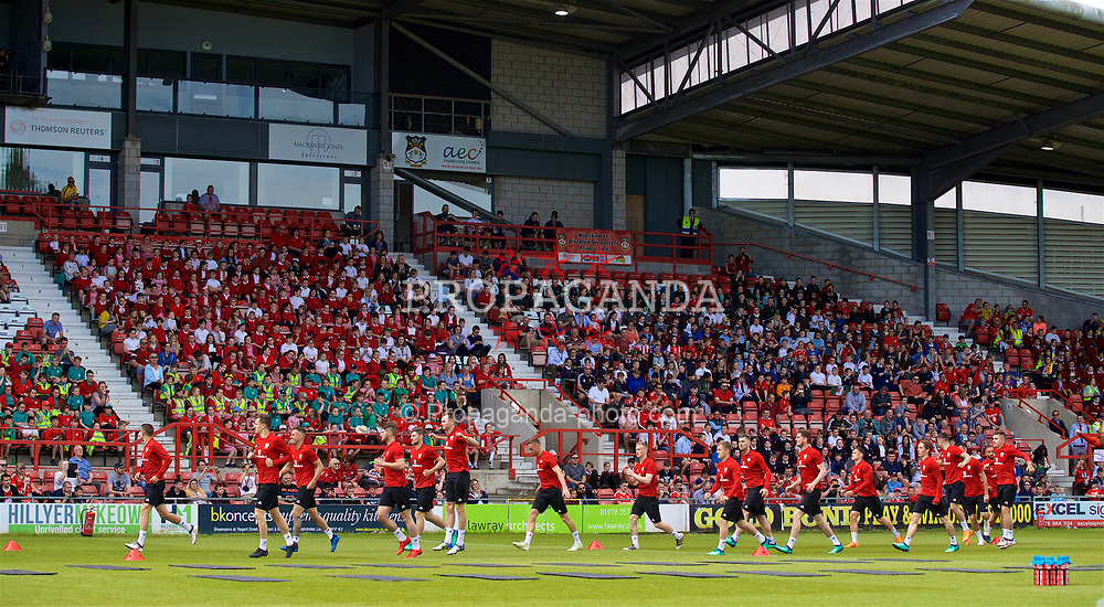 WREXHAM, WALES - Monday, May 21, 2018: Wales players during a training session in front of 3,700 supporter at the Racecourse Ground ahead of the international friendly match against Mexico. (Pic by David Rawcliffe/Propaganda)