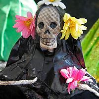 Latin America, Mexico. Skeletal Catrinas, figure celebrating Dia de Los Muertos.