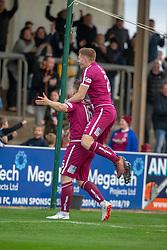 Arbroath's Steven Doris cele scoring their second goal. Arbroath 3 v 1 Dumbarton, Scottish Football League Division One played 20/10/2018 at Arbroath's home ground, Gayfield Park.