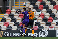 Tranmere Rover's Kaiyne Woolery competes for a high ball with Newport County's Brandon Cooper (6) during the EFL Sky Bet League 2 match between Newport County and Tranmere Rovers at Rodney Parade, Newport, Wales on 17 October 2020.