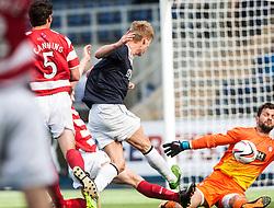 Falkirk's Jay Fulton has his shot saved by Hamilton's Kevin Cuthbert.<br /> Falkirk 1 v 2 Hamilton, Scottish Championship 31/8/2013.<br /> ©Michael Schofield.