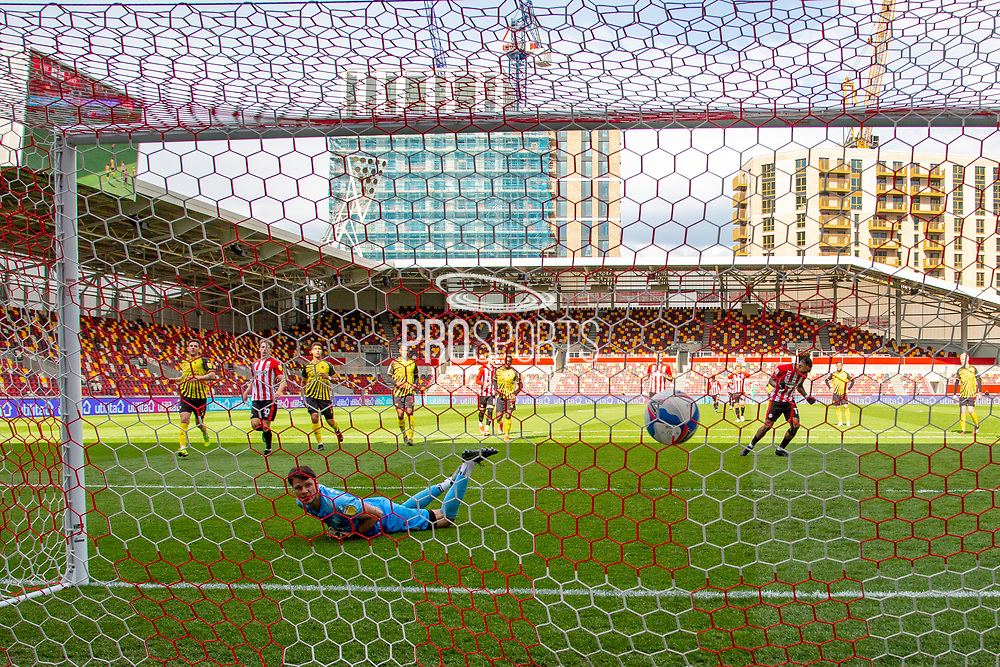 GOAL 2-0 Watford goalkeeper Daniel Bachmann (26) is beaten from the spot by Brentford Forward Ivan Toney (#17) during the EFL Sky Bet Championship match between Brentford and Watford at Brentford Community Stadium, Brentford, England on 1 May 2021.