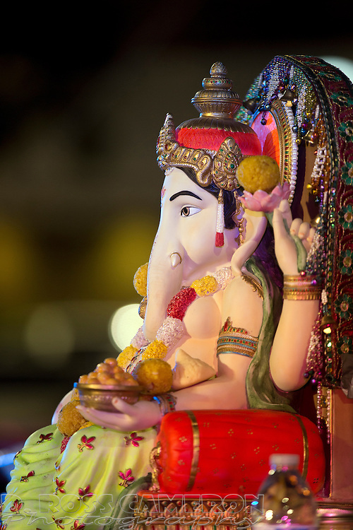 A figure of the Hindu Ganesha, at the first night of the Ganesh Utsav festival at the NewPark Mall in Newark, Calif., Thursday, Sept. 17, 2015. The popular Indian festival, to honor Ganesha, one of the best-known and most worshipped deities in the Hindu pantheon is continuing through Sunday. (Photo by D. Ross Cameron)