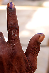 April 29, 2019 - Rajasthan, India - An Indian voter shows ink-marked finger after casting vote for the fourth phase of India's general election in outskirts village of Mangliyawas, Rajasthan India on 29 April 2019. (Credit Image: © Str/NurPhoto via ZUMA Press)