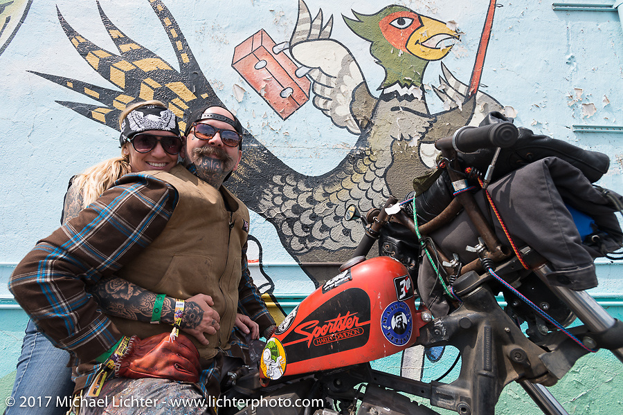 Missy and Darren McKeag at a brief stop on Aidan's Ride to raise money for the nonprofit to help raise awareness and find a cure for ALD (Adrenoleukodystrophy) during the annual Sturgis Black Hills Motorcycle Rally. SD, USA. Tuesday August 8, 2017.  Photography ©2017 Michael Lichter.