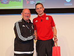 NEWPORT, WALES - Saturday, May 21, 2016: Chris Whitley with Liverpool's first-team development coach Pepijn Lijnders during the Football Association of Wales' National Coaches Conference 2016 at the Celtic Manor Resort. (Pic by David Rawcliffe/Propaganda)