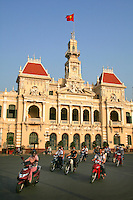 Ho Chi Minh City Hall or Saigon City Hall was built in 1902 in a French colonial style for the then city of Saigon. It was renamed after 1975 as Ho Chi Minh City People's Committee. Illuminated at night, the building is not opened to the public or for tourists. A statute of Ho Chi Minh is found in a park in front of the building.