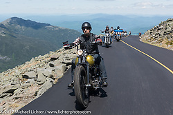 Peter Ballard of Barrington, NH rides his custom 1999 Harley-Davidson Softail up 6,289 foot Mount Washington for the Bikes Only day on the mountain during Laconia Motorcycle Week, New Hampshire, USA. Thursday June 15, 2017. Photography ©2017 Michael Lichter.