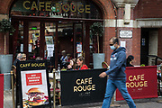 Local residents and visitors enjoy subsidised Bank Holiday Monday lunches at a branch of Cafe Rouge on the final day of the government's Eat Out To Help Out meal scheme on 31 August 2020 in Windsor, United Kingdom. Many restaurant owners have called for an extension to the scheme introduced by the Chancellor of the Exchequer to help preserve hospitality jobs during the COVID-19 pandemic.