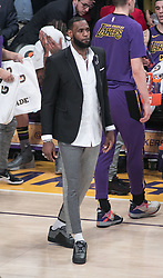 January 4, 2019 - Los Angeles, California, U.S - LeBron James #23 of the Los Angeles Lakers sits out with a groin injury during their NBA game with the New York Knicks on Friday January 4, 2019 at the Staples Center in Los Angeles, California. (Credit Image: © Prensa Internacional via ZUMA Wire)