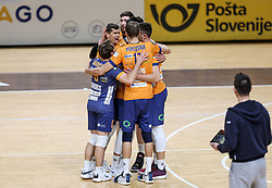 Players of ACH celebrate during 3rd Leg Volleyball match between ACH Volley and Calcit Volley in Semifinal of 1. DOL League 2020/21, on March 22, 2021 in Hala Tivoli, Ljubljana, Slovenia.  Photo by Vid Ponikvar / Sportida