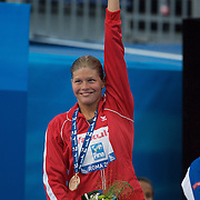 Lotte Friis, Denmark, winning the Women's 800m Freestyle Gold at the World Swimming Championships in Rome on Saturday, August 01, 2009. Photo Tim Clayton